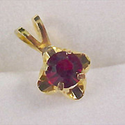 Beautiful Gilt Gold Ruby Prong Set Pendant