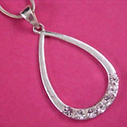 Diamante Chaton Silver Tone Pendant and Snake Chain Necklace