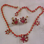 WEISS~Red Coral Chatons~Red Faceted R.S.~Diamante Demi Parure~ Necklace & Earrings