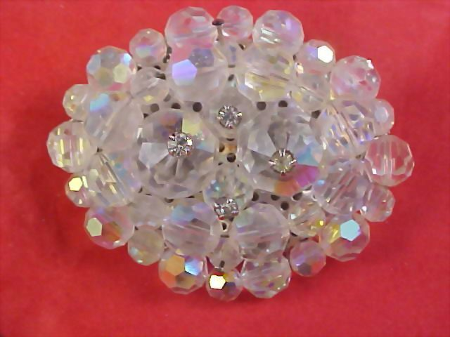 Fabulous AUSTRIAN Rainbow  Crystals RIVOLI  Hand Wired Brooch 28.8 grams