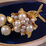 Simulated  PEARL ~ Gilt Gold ~ Gold Plate BUTTERFLY WING Earring for Craft