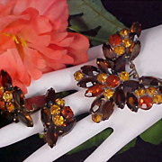 WEISS~Whimsical Topaz~Cognac & Honey Amber BUTTERFLY Suite~Brooch & Earrings