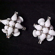 IMPECCABLE D & E Juliana Milk White Glass & Diamante Clip Earrings