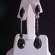 LEWIS SEGAL of California Jet Black Crystal Drops on Silver Chain Earrings - Circa 1950