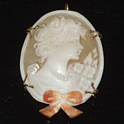 M+M SCOGNAMIGLIO 14K Gold~ Carved Shell CAMEO~Brooch/Pendant ~6.7grams