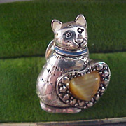 Golden  Brown Genuine Tigers Eye-Marcasites - Silver Plate Figural Cat & Heart Brooch