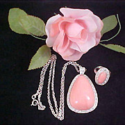 AVON's  BOOK PIECES  Pink Coral Pale Fire Demi - Pendant Necklace & Matching Ring - 1974