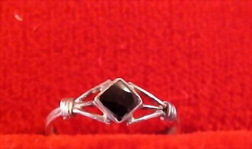 Square Cut Onyx 925 Sterling Silver Ring-Size 4 1/4