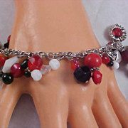 1950 Red-Black-White-Aurora & Silver Plate  Beads Charm Bracelet