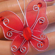Whimsical RED MESH BUTTERFLY Silver Plated & Red Rhinestone Brooch