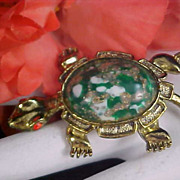 Precious TURTLE - Massive Art Glass Cabochon Speckled Gold & White Flecks -  Red Rhinestone An