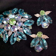 SALE ~  Spectacular ~ DeLizza & Elster aka Juliana Aquamarine Suite ~ Brooch & Earrings