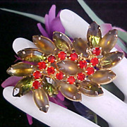 Exquisite JULIANA Green Crystals~Orange Sapphire Chatons~Olivine Rhinestone Brooch