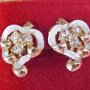 CORO Script Trademark-Circa 1950's - Diamante and Enamel Screw Earrings