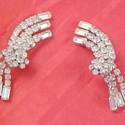 RUNWAY JULIANA Diamante Baguette & Chaton Ear Climber Clip Earrings