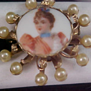 SALE CHARMING  Victorian Style Porcelain  Lady & Simulated Pearl Brooch
