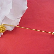 Gilt Gold Extra Long 1960's Stick Pin/ Hat Pin - 4 3/4 inch Length