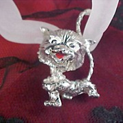 Grinning MISCHIEVOUS  Kitty Silver Rhodium Brooch