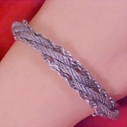50% Off - GOLDETTE OF NEW YORK Silver Tone Braided Three Strand Rope Mesh Bracelet/w Safety Ch