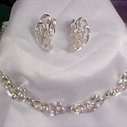 ART DECO ~ Diamante Rhinestone Demi Parure - Silver Rhodium Plate~Necklace & Earrings