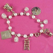 Simulated Pearl Charm Bracelet & Movable Charms
