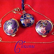 CLOISONNE Puffy Two Sided Pendant & Matching Earrings by SITI