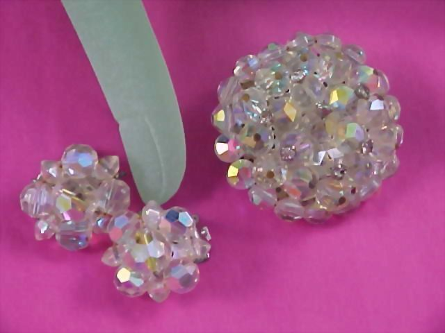 Hand Wired Heavy Crystal & Diamante Demi Parure