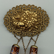 Celluloid Brooch with Dangling Czech Beads