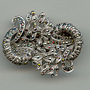 1930s Marcasite Double Clip Brooch From England
