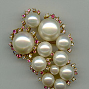 Large Brooch with Imitation Pearls and Pastel Rhinestones Signed Marvella