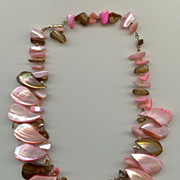 Dyed Mother-of- Pearl Necklace   1950s Wonderful Colors