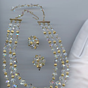1950s Crystal Bead Set Signed &quot;Laguna&quot;
