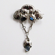 Antique Bernhard Hertz Denmark 830 Silver Moonstone Skonvirke Brooch Pin