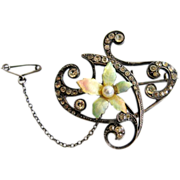 Vintage 1920s Art Nouveau 935 Silver French Enamel Paste Flower Brooch