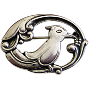 Vintage 830 Silver Denmark Eiler & Marloe Kingfisher Bird Brooch Arts & Crafts