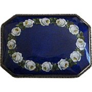 Antique German Jugendstil 935 Silver Enamel Brooch with Roses