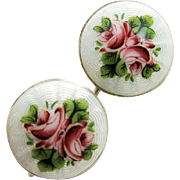 Antique Deakin & Francis Sterling Enamel Button Earrings Roses Guilloche 1911