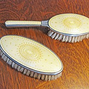 Antique Sterling Silver Enamel Norway J. Tostrup Guilloche Brush Set