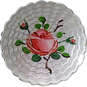 Vintage Sterling Enamel Guilloche Norway Holt Rose Brooch