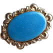 Antique Jakob Tostrup Brooch 830 Silver Enamel Norway Pale Blue