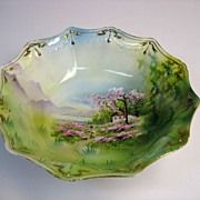 Rare Scene RS Prussia porcelain center bowl-Sheepherder 1