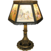 Antique porcelain & glass colored Lithopane table lamp A