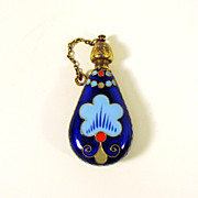 Vintage Russian silver & enamel perfume bottle marked 916
