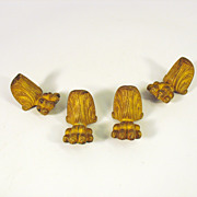 Set Original P.E Guerin gilt bronze paw foot casket feet mounts