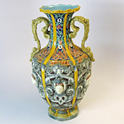 Big antique English Majolica Baroque vase with Ladies faces
