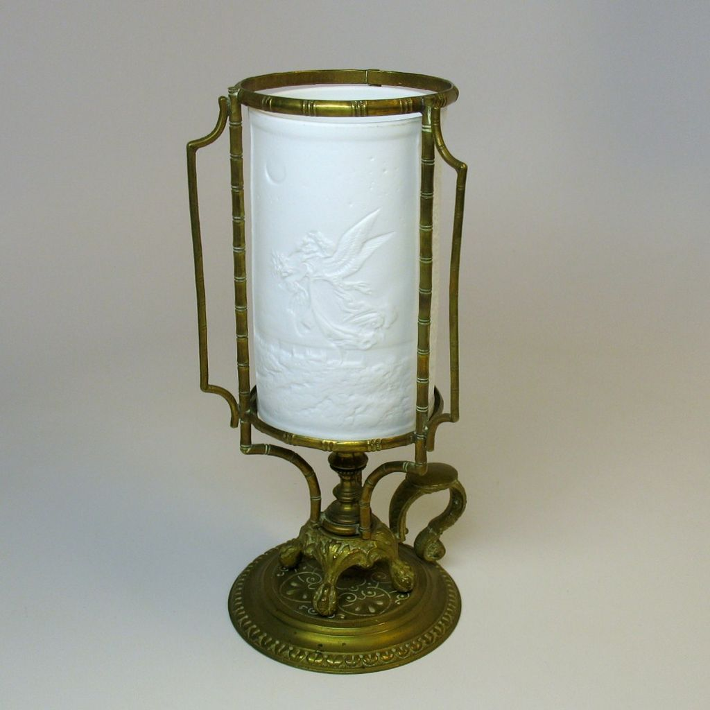 Rare  Victorian lithopane go to bed bronze fairy lamp chamberstick
