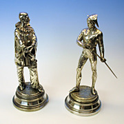 Antique French pair silvered bronze figures-Fencing Pierrot's.