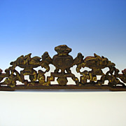 Antique Chinese carved wood ornamental hanging or furniture piece