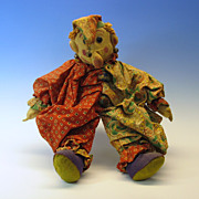 Early Folk art cloth sitting Clown doll Misfit toy