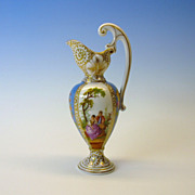 Antique miniature Dresden hand painted porcelain fancy Ewer